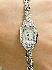 Vintage Estate Antique 14K White Gold Diamond Hamilton Watch