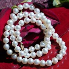 """Honora 14k yellow gold 7.5mm white cultured pearl necklace 20.0"""" strand  37.0gr"""