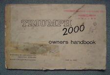 TRIUMPH 2000 OWNER'S HANDBOOK
