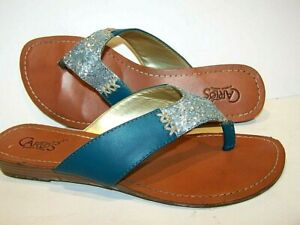 Carlos Santana Sandals 7M Trixie Teal green - blue SILVER Bling Flip Flop Flats
