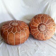 FREE-SHIPPING-Lot-of-2-MOROCCAN-POUF-LEATHER-POUF-OTTOMAN-FOOTSTOOL POUFFE NEW