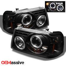 Fits 2001-2012 Ford Ranger Pickup Truck 1pc Black Bezel Halo Projector Headlight