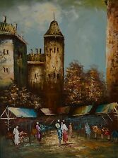 "Hermoso Óleo sobre lienzo ""mercado en el centro de Casco Antiguo"" encantadora firmado Mickey"
