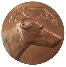 France dog canine award GREYHOUND (?)  copper  50mm by Contaux