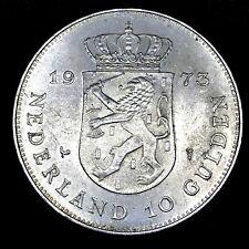 Netherlands 10 Gulden 1973 KM#196 0.720 Silver 25th Anniversary of Reign Coin.