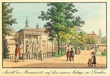DRESDEN - MORITZMONUMENT - J.C.A. Richter - kolor. Umrissradierung 1820