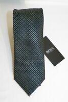 HUGO BOSS BLACK LABEL SILK TIE GREEN /BLACK MADE IN ITALY#50407122-NWT