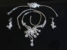 Sterling Silver Bright White Lab Diamond Necklace Bracelet and Earrings Set