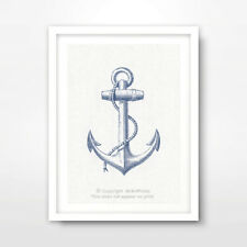 ANCHOR ILLUSTRATION SEASIDE NAUTICAL ART PRINT Blue Decor Wall Restaurant A4A3A2