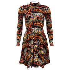 Traditional African Wild Animal Skin Printed Velvet High Neck Vintage Dress