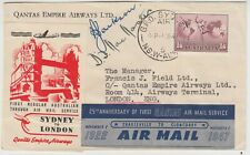 AUSTRALIA 1947 signed QANTAS EMPIRE AIRWAY 1st regular air service SYDNEY-LONDON