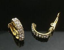CLIP-ON Subtle Gold Diamante Hoop Earrings Wedding Crystal Fake Piercing Small