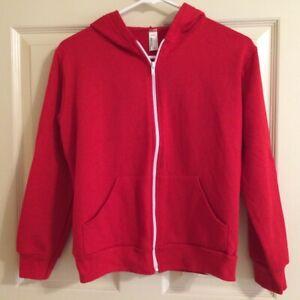 American Apparel Unisex Youth Kids Sz 10 Full Zip Hoodie Red Kangaroo Pockets