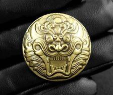 Dragon Head Wallet Snap SNAKE BRASS CONCHO Gold Bronze Biker Belt Pouch Handwork