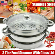 3 Tier Food Steamer Vegetable Meat Cooker Kitchen Stackable Baskets Stainless Us