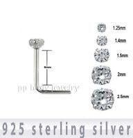 5pcs. 925 Sterling Silver CZ Prong Set L-Shape Nose Stud 22g 1.25mm to 2.5mm CZ