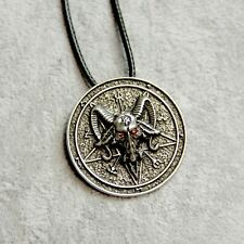 Antique Silver Baphomet Goat's Head Pentacle Pendant Necklace