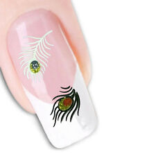 3D Nail Art Glitter Stickers Decals Purple Green Gold Pink Peacock Feathers 1022