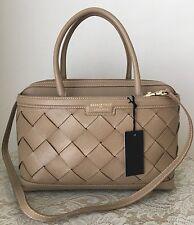NWT IACUCCI Italian Italy leather cuir veritable satchel bag purse taupe beige