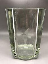 Splendido strombergshyttan GIALLO vaso di cristallo inciso pesce - 15 CM DI ALTEZZA-NON FIRMATE