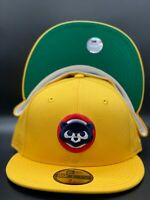 Chicago Cubs Custom New Era Gold / Blue 59Fifty Fitted Hat Green Under Visor