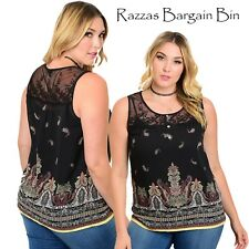 New Ladies Black Top With Lace Neckline Plus Size 16/2XL (1034)OF