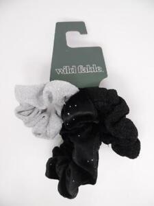 Wild Fable Twister, Velvet Sparkle, Metallic Knit, Black Scrunchies - 3ct