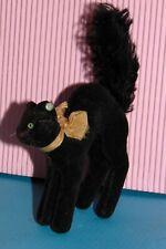 ANCIEN veritable chat Steiff  NOIRE Halloween BLACK cat Teddy bear  ❤️Button  1