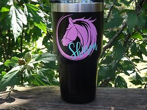 Custom Monogram Horse Vinyl Decal for Stainless Tumblers, Coffee Travel Cups