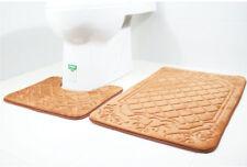 Bath Mat 2PCS Set Non Slip Pedestal Mat Toilet Rug Memory Foam Bathroom Pebble