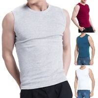 Summer Men Tank Tops Casual Elastic Fitness Solid Sleveless Vest Slimming Tees G