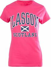 Gents Harvard Style T-Shirt With Glasgow Text Saltire Logo Heliconia Size Small