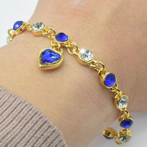 Women Girls Crystal Fashion Jewelry 18K Gold Plated Charm Bracelet Wedding Gift