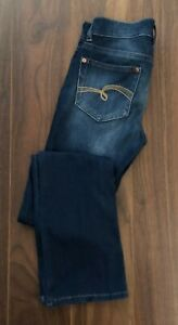 JUSTICE Dark Denim Jeans Knit Jeggings Boot Size 14R Mid Rise Stretch Spandex