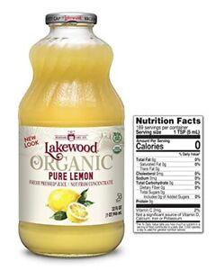 Lakewood Organic Pure Juice Fresh Pressed Lemon Organic 32 fl oz New