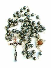 CATHOLIC ROSARY NECKLACE HEMATITE BLACK STONE BEADS WITH JERUSALEM SOIL&CRUCIFIX