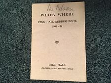 1937 Penn Hall Junior College & Prep School Address Book Chambersburg, PA ID#320