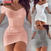 Women Off Shoulder V-Neck Bodycon Mini Dress Ladies Short Sleeve Slim Fit Dress