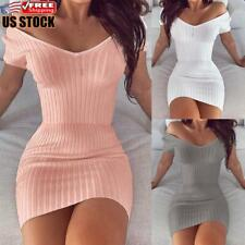 Women Off Shoulder V-Neck Bodycon Mini Dress Ladies Short Sleeve Slim Fit Dress