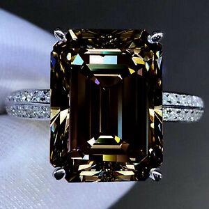 4.62 Ct VVS1,Emerald Brown White Moissanite Diamond Engagement Silver Ring