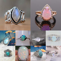 Vintage 925 Silver Oval Round Natural Moonstone Gemstones Rings Bridal Wedding
