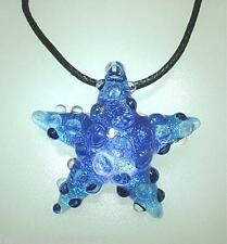 Lampwork Dichroic Color Glass Hawaiian Textured Starfish Pendant Adjustable #24