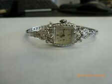 Vintage Lady Hamilton 14K White Gold And Diamond Watch Cleaned And Serviced