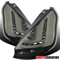 For 2011-2013 Ford Fiesta Hatchback Smoke LED Tail Lights Brake Lamps w/ DRL Bar