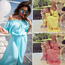 Women Girls Mother Daughter Summer Party Dress Family Matching Outfits Clothes