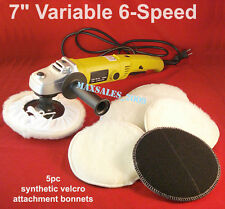"7"" VARIABLE 6-SPEED ELECTRIC CAR POLISHER/BUFFER & SANDER W/ 5pc Bonnets"