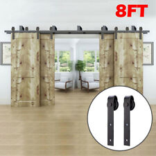 8FT Bypass Rustic Barn Wood Door Hardware Closet Sliding Rail Kit for 4 Doors