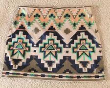 NEW EXPRESS SKIRT Sz XS Ivory Sequin Aztec GEOMETRIC TRIANGLE PRINT MINI SKIRT