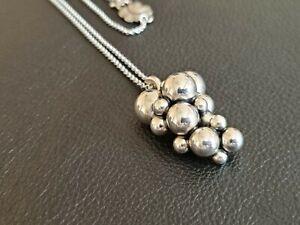 Denmark Georg Jensen 925 Sterling Silver Moonlight Grapes Necklace