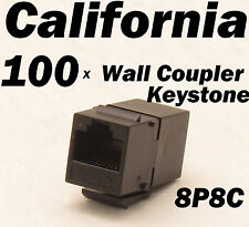100 pcs Lot CAT6 Inline RJ45 Keystone Wall Coupler Jack Adapter 8P8C CAT5 CAT5e